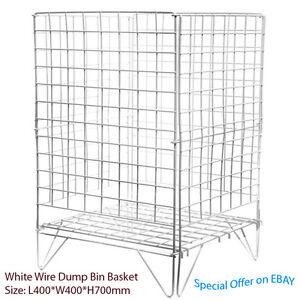 White Square Dump Bin / Stacking Baskets Storage Shop Retail Display Stand