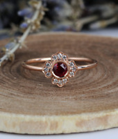 1.6ct Round Cut Red Garnet Engagement Ring 14k Rose Gold Finish Floral Solitaire