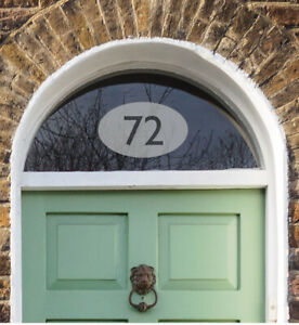 House Number Etch Effect in Oval - Traditional Fanlight Sticker - Door Sign