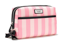 Victoria's Secret Love Cosmetic Makeup Beauty Bag Pink & White Pouch Case NWT