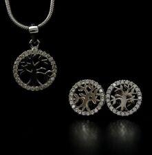 Damen echt 925 Sterling Silber Ohrringe Halskette Schmuck Set Lebensbaum