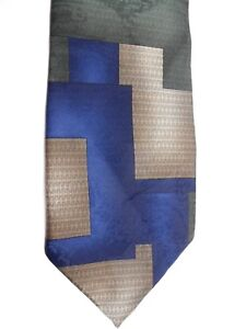 """Puritan Men's Polyester Tie 58"""" X 4"""" Navy/Brown/Olive Abstract"""
