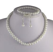 WHITE GLASS PEARL NECKLACE EARRINGS & BRACELET SET