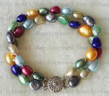 2 Reihe 8-9mm kultivierter Regenbogen Multicolor Barock Süßwasser perle armband