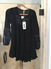 NWT MONORENO (Evereve) Charcoal Gray embroidered front, tunic dress Black New