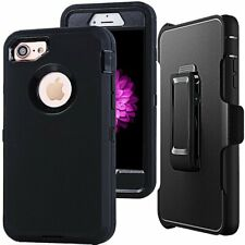 For iPhone 7/8, Defender Outer Series Case w/ Screen Protector & Clip BLACK