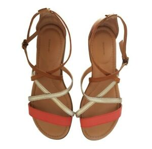 Rockport leather strappy sandals 8 brown casual 25cm 38.5 tan coral silver