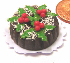 1:12 Scale Chocolate Christmas Ring Cake Dolls House Miniature Accessory H1