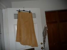 #11/6 vtg Banana Republic womens Angled Border Long Skirt tan leather Suede Sz 6