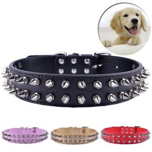 Spiked Studded Dog Collar Pu Leather Rivets Boxer PitBull Necklace Adjust18-22''