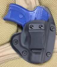 "Ruger LC9/LC9s IWB Hybrid Holster, Black Kydex, black leather, 1.5"" Belt, RH"