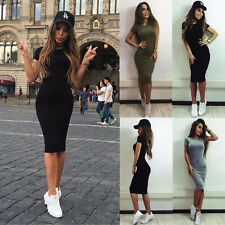 Fashion Womens Casual Short Sleeve Long Dress Evening Party Cocktail Grey S LZF4