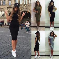 Womens Casual Short Sleeve Evening Party Cocktail Short Mini Dress Black S LZF05