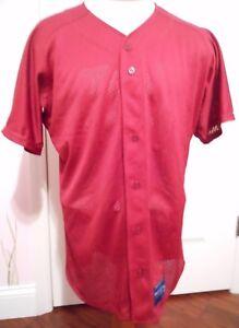 Mizuno Baseball Full Button Mesh Maroon High Performance Jersey Men's Size L