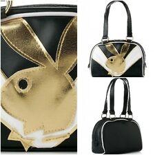 PLAYBOY Black, White & Gold Bunny Athletic Bowler Handbag NEW & LICENCED