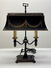 Vintage Hand Painted French Bouillotte Tole Ware Metal/Iron Table Lamp - Works!
