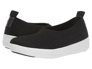 Women's Shoes FitFlop UBERKNIT Slip On Stretchy Ballerina Flats O83-001 BLACK