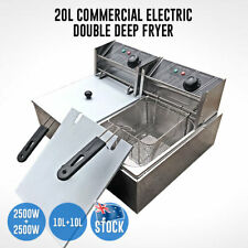 20L Electric Deep Fryer Commercial Bench Top Double Stainless Steel AU STOCK