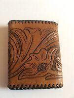 Vtg 1970s Hand Made/ Stamped Leather Trifold Wallet Floral Design; Brown & Black
