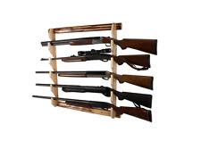 Gun Rack Vertical Wall Mount 5 Gun Storage Wood Long Shotgun Rifle Display Hunt