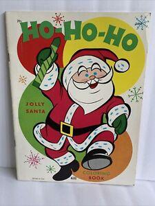 UNUSED VINTAGE CHRISTMAS JOLLY SANTA Samuel Lowe 1974 COLORING BOOK- HO HO HO