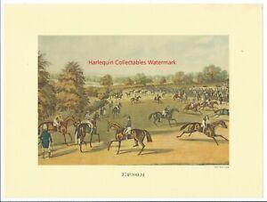 Vtg Charles Hunt Lithographic Print EPSOM Preparing to Start Jockey Horses Race