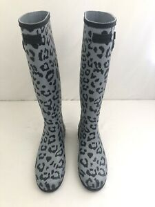Hunter Original Leopard Print Refined Tall Waterproof Rain Boot