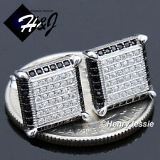 MEN 925 STERLING SILVER 10MM BLACK SILVER ICED OUT BLING STUD EARRING*E158