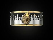 Ring Wolf Forest Moon Mens Biker Skull Lion Ring S925 With 24K Gold Plated Parts