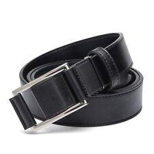 Men Faux Leather Belt Without Holes Fashion Strap Male Jeans Accessories Black