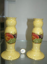 """BEAUTIFUL AYNSLEY ORCHARD GOLD 6"""" INCH PAIR CANDLE HOLDERS CANDLESTICKS 1ST QTY"""
