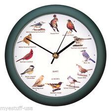Original North American Song Bird Sound Clock 8 inch Green by Mark Feldstein