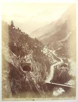 Original Fotografie Gotthardbahn Tunnel Schweiz Alpen um 1870 Albumindruck xz