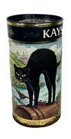 Vintage Julius Kayser & Co. Arched Black Cat Wine Canister Tin Germany 13.5x7