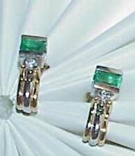 14K .40ct Emerald Princess Diamond Stud Earrings Multi tone Gold Vintage Estate