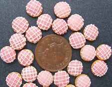 1:12 Scale 7 Loose Pink Doughnuts With White Squares Dolls House Bakery PL138