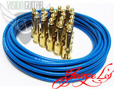 George L's Blue Mega-Pack Pedalboard Effects Cable Kit 15' - 20 Unplated Plugs