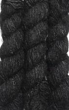 1 Quality Black Rercycled Soft Silk Sari Knit Yarn 500 Gram - 5 Skein