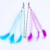 1pc Cat Turkey Feather Wand Teaser Toy Kitten Interactive Training Rod With Bell