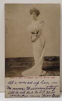 RPPC Victorian Woman Actress Dancer Waltz with Me to Shirleysburg Pa Postcard B9