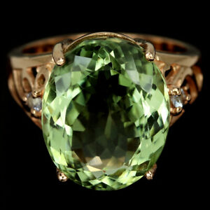 NATURAL AAA GREEN AMETHYST 15X12 MM. & WHITE CZ STERLING 925 SILVER RING SIZE 6