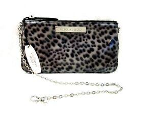 Victoria's Secret New Tags Zip Top Pouch w Chain Snow Leopard Patent Leather