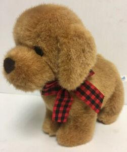 VINTAGE GUND HEADS N TALES Golden Retriever Plaid Bow Fuzzy Puppy Stuffed Animal