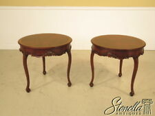 25029: Pair JONATHAN CHARLES Round French Mahogany Occasional Tables ~ New