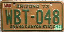 FREE UK POSTAGE 1973 Arizona Grand Canyon State USA License Number Plate WBT 048