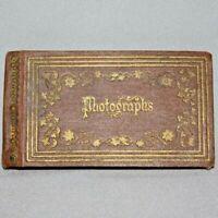 "Antique 1860s Hunter & Co NH Hinsdale PHOTO ALBUM 12 Tintypes 4 7/8"" x2 3/4"""