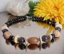 Unikat Collier Halskette Holz + Glas Perlen braun beige + schwarz