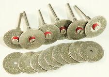 21PC Diamond Coated Cut-Off Wheels Disc Saw Mandrel Rotary Tool Grit 80/150/240