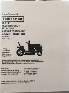 "Owner's Manual Sears Craftsman 17 HP Lawn Tractor 42"" Mower- Model 917.272073"