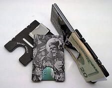Gambler Skull, Billet Aluminum Wallet/Credit Card Holder, RFID Protection, Black